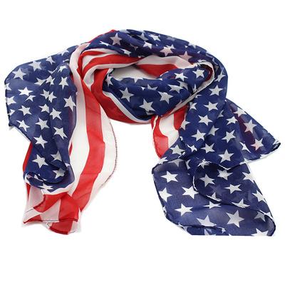 水兵舞专用演出丝巾新款雪纺欧美星条国旗围巾纱巾小方巾女夏天薄