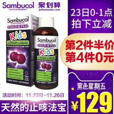 澳洲進口Sambucol小黑果黑接骨木兒童保健品小綠葉咳嗽糖漿120ml