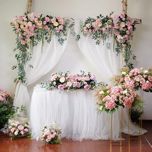 饰花 婚庆粉色花艺拱门橱窗三角花排花墙酒店婚礼舞台迎宾区背景装