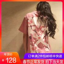 香港潮牌2019春夏樱花T恤女大码男女情侣装宽松纯棉直喷印花短袖t