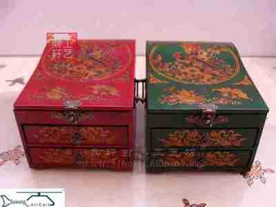仿复古典化妆箱超大首饰盒实木制装饰摆件梳妆公主婚庆生日礼品盒