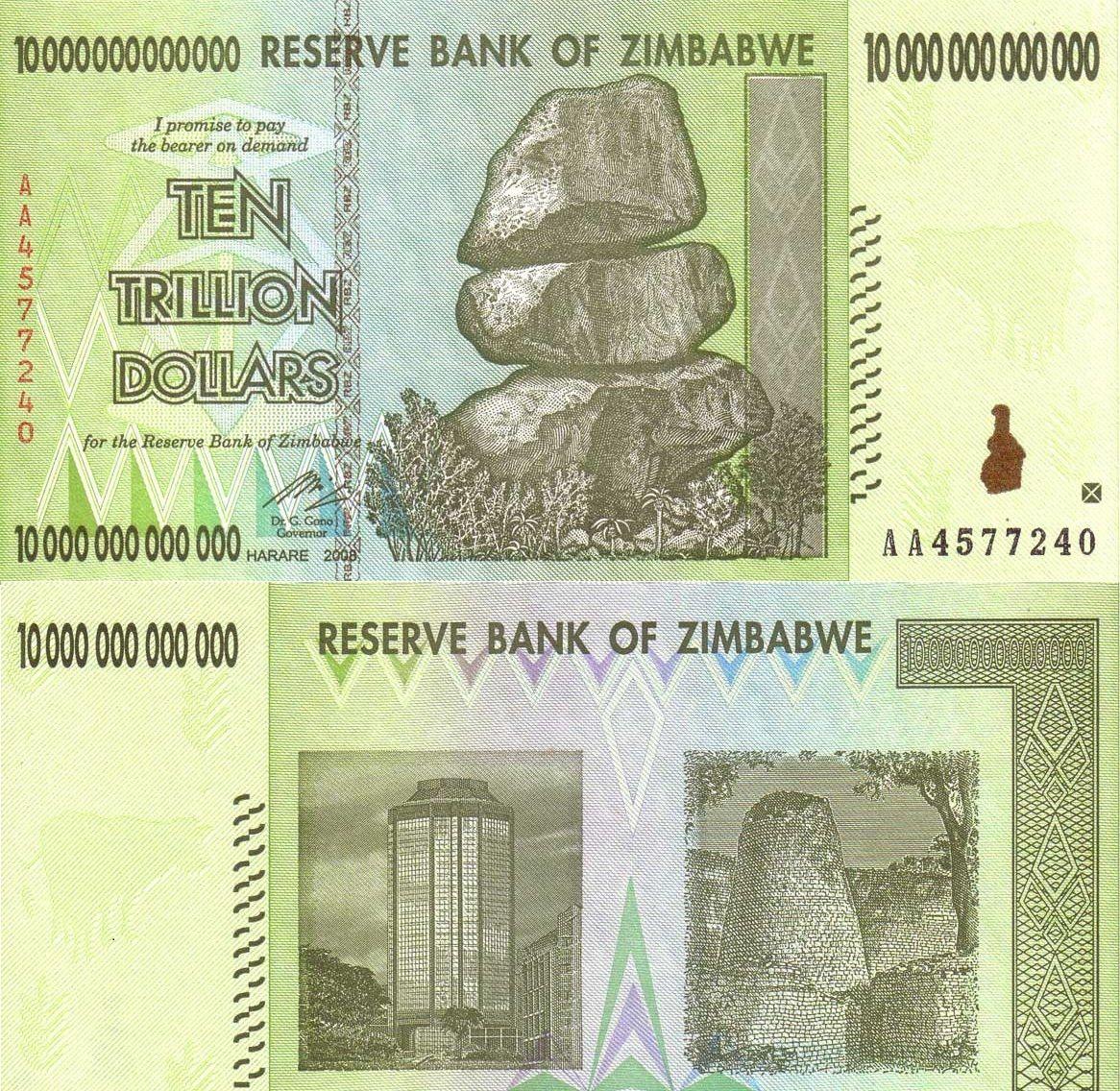 【非洲】全新UNC 津巴布韦10万亿津元 (100万亿同期)珍藏纸币