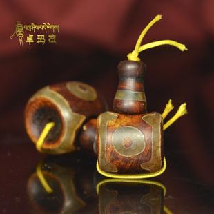 西藏老天然玛瑙原石三眼天珠佛头藏式佛珠念珠三通DIY配饰配件