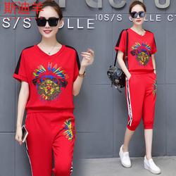 运动套装女2019夏装新款韩版女装夏季休闲时尚网红两件套学生潮