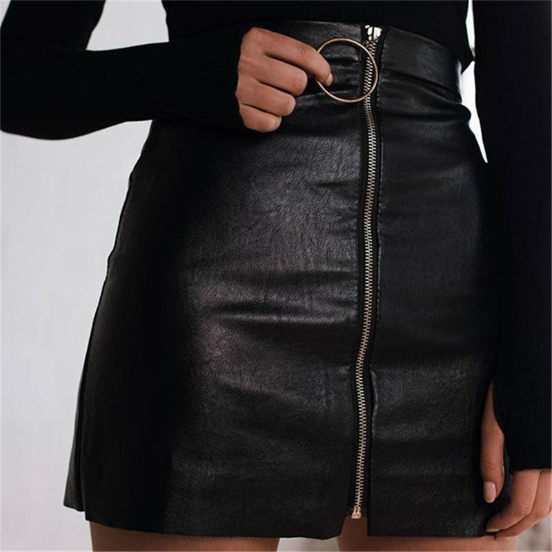 欧美圆环拉链半身裙女高腰PU小皮裙性感包臀A字短裙