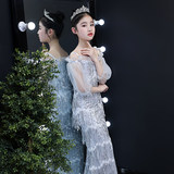 One-shoulder children's dress princess dress girl wedding show catwalk costumes piano evening dress Xia Datong