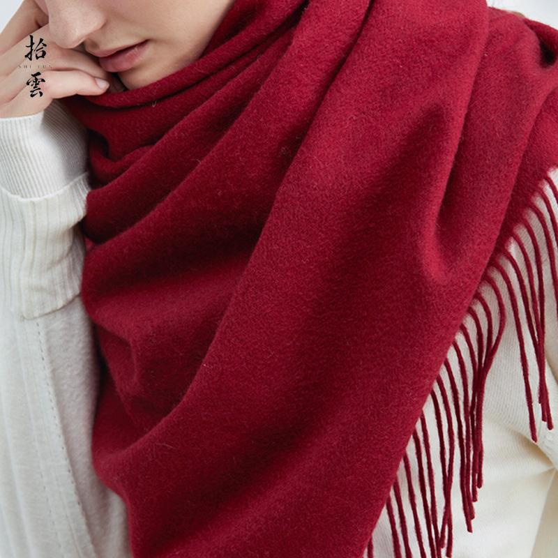 纯羊绒围巾女酒红色
