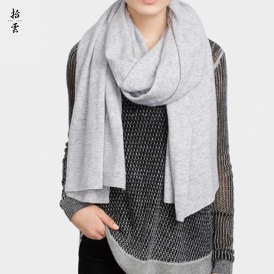 拾云 时尚纯山羊绒围巾秋冬季女长款 欧美针织大披肩两用纯色围脖