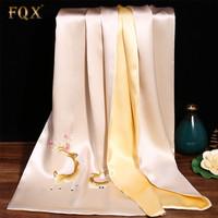 FQX 丝巾女夏季新款真丝苏绣围巾女长款手工刺绣披肩桑蚕丝中国风