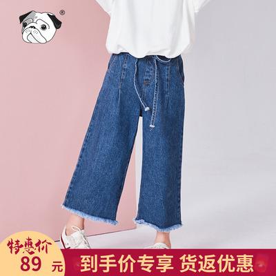 女童牛仔裤2018新款韩版洋气儿童裤子中大童阔腿裤夏长裤春秋薄款