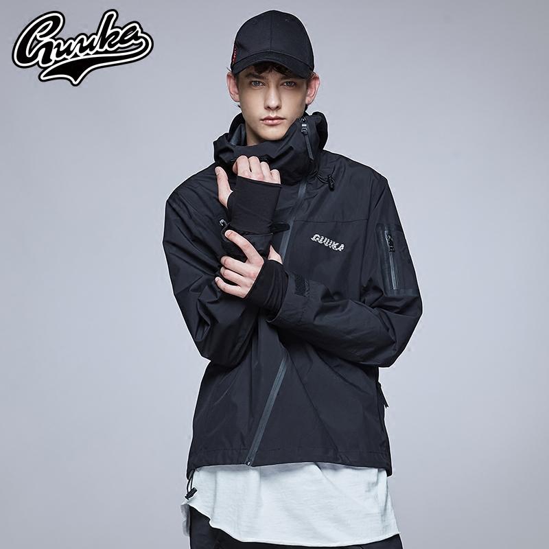 Guuka潮牌日系冲锋衣男 青少年原宿城市机能外套薄款防水防风夹克