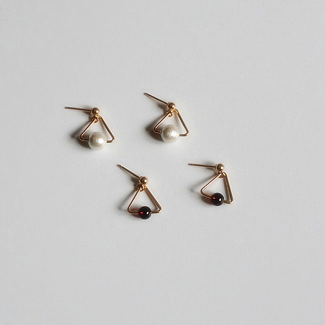 轻奢纯手工耳环进口14包金简约几何三角形小耳吊珍珠耳饰