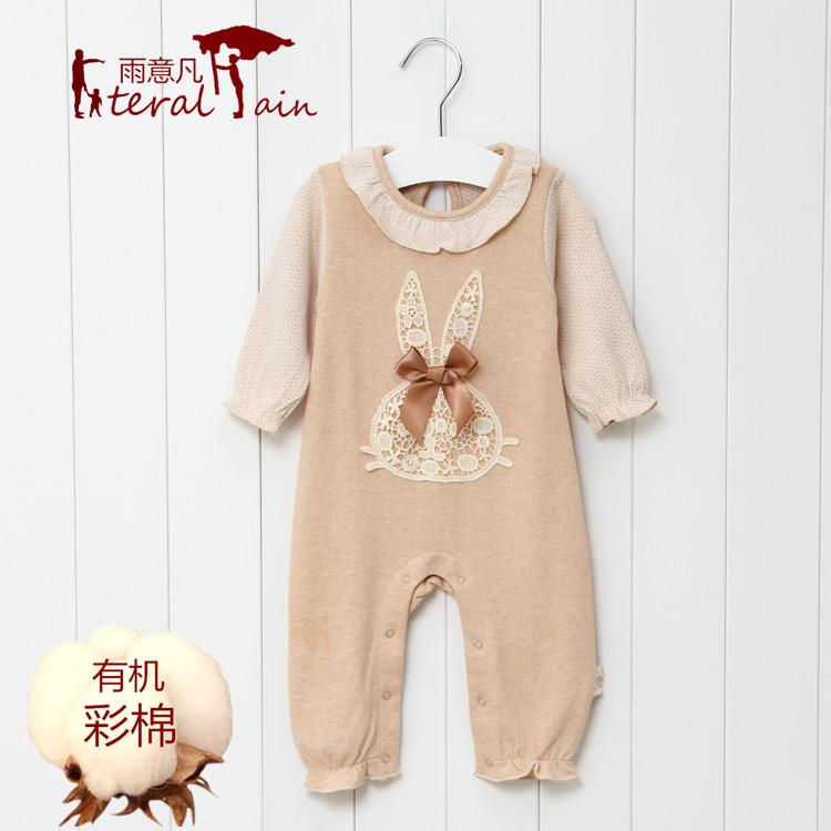 新生婴儿连体衣服装6长袖-纯棉1彩棉2女宝宝3春秋季0睡衣个月岁半5元优惠券