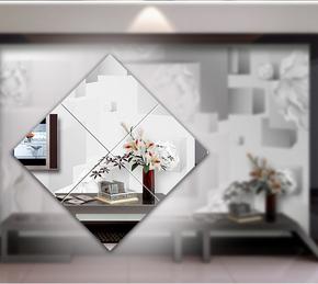 定制艺术拼镜车边菱形玻璃 客厅餐厅电视背景现代简约装饰品热卖