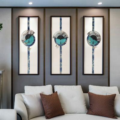 新中式扇子禅意装饰画客厅玄关沙发背景墙茶室酒店三联立体挂画哪里购买