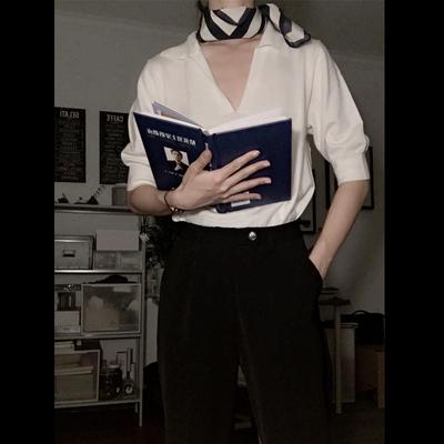 inc 2017秋装新款 文艺百搭宽松舒适休闲翻领中袖纯羊毛针织衫女