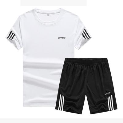 运动短套男健身服篮球套装宽松大码透气排汗短袖T恤运动短裤夏季