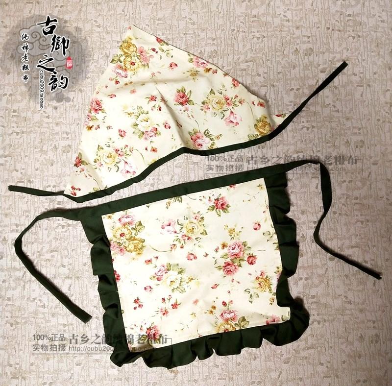 订做民族风蓝印花布农家乐饭馆围裙采茶舞蹈表演围腰 包邮 赠头巾