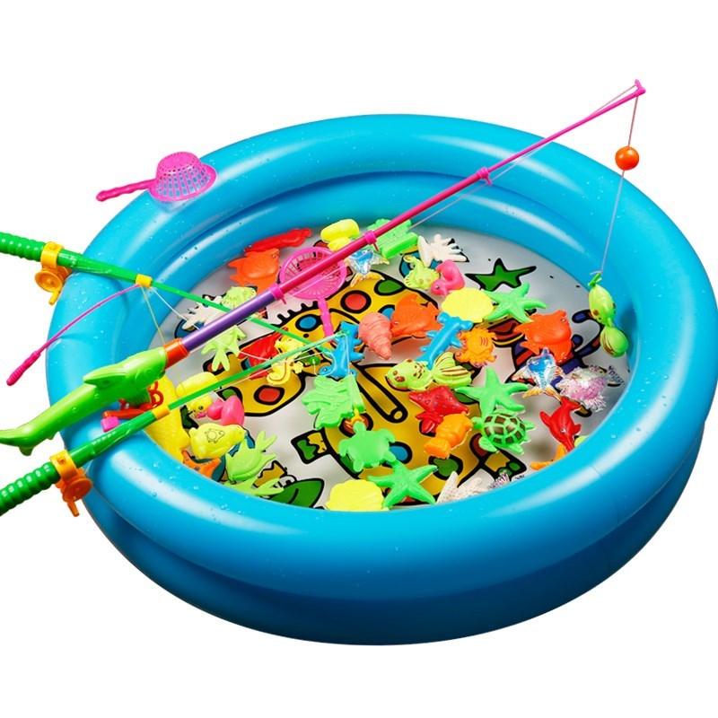 塑料磁力小女孩孩子加水创意模型摆摊图案钓竿钓鱼玩具动物玩具