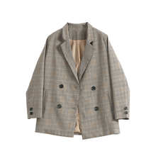 Lattice suit jacket women's suit 2019 new spring and autumn Korean version of the loose, simple retro, double-breasted small suit
