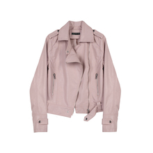 Designer Plus Spring and Autumn New Pink Short Locomotive Leather Jacket PU Leather Coat