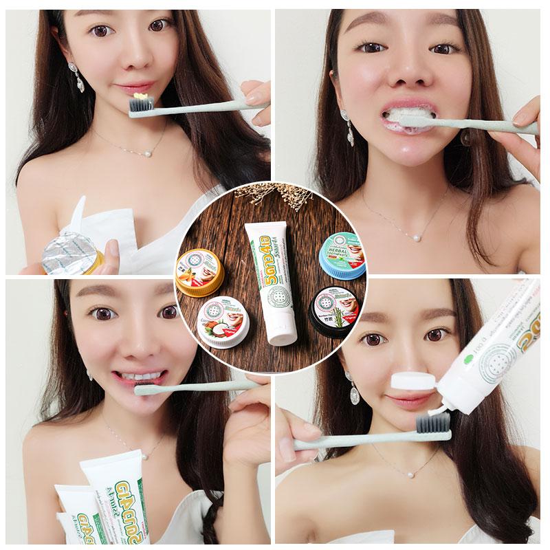 泰国牙粉牙膏速效洁白牙齿芒果味竹炭味椰子味薄荷味