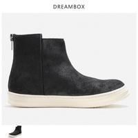 dreambox春秋欧美简约百搭绒面复古套脚皮靴拉链休闲厚底男士短靴