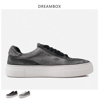 dreambox春季欧美潮做旧磨砂牛皮低帮系带运动休闲平底男士板鞋