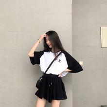 时尚套装女夏2019新款韩版短款上衣不规则高腰阔腿裤裙裤两件套