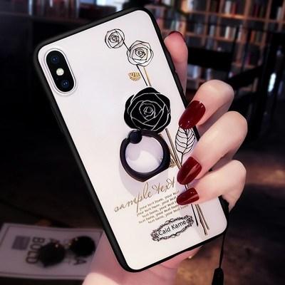 苹果7手机壳4.7寸指环扣一体iphine6s女款iphonex潮牌新款个性ipnone6plus软硅胶ipone7pius带挂绳ihone8puls