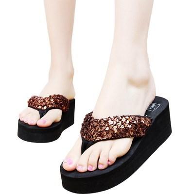 防滑夏季凉拖女拖鞋人字拖高跟 新款厚底时尚 女款松糕高跟沙滩鞋