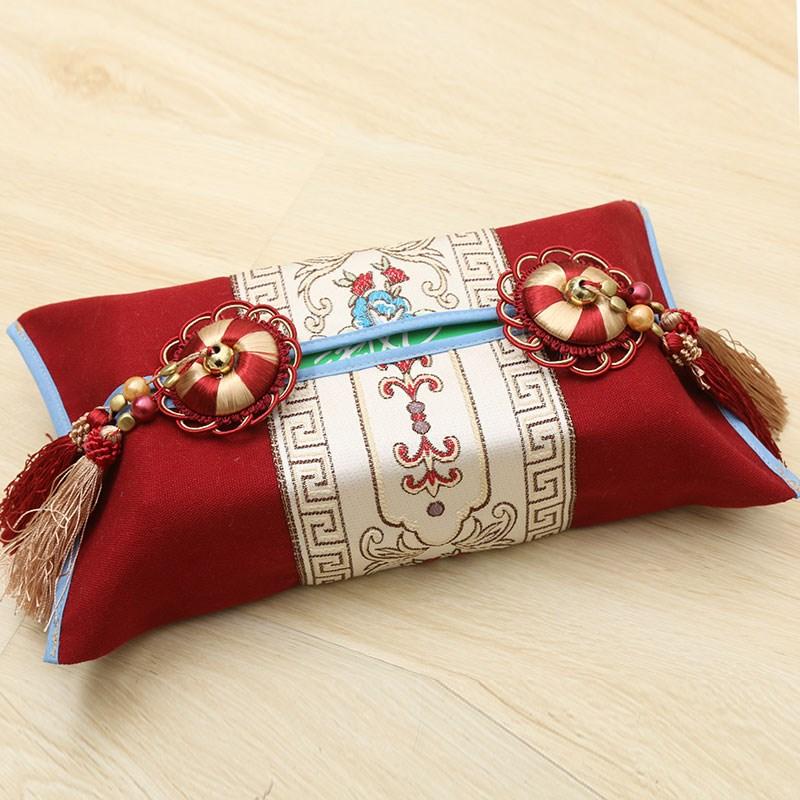 新款高档布艺纸巾盒中式纸巾盒抽纸巾盒时尚创意卫生抽纸盒