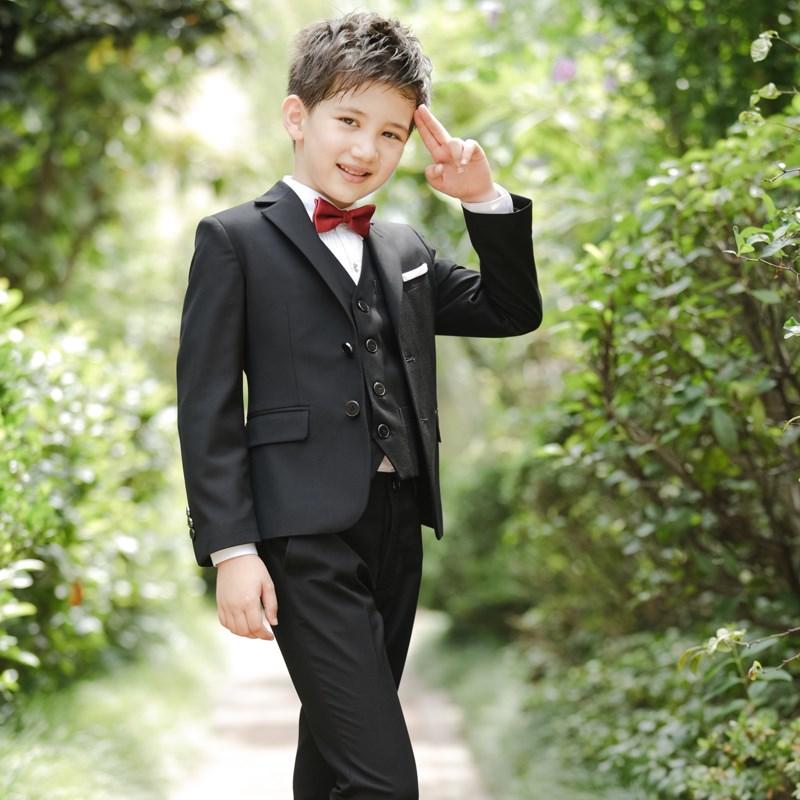 男童套装长袖西服外套马甲三件套春秋儿童小男孩表演礼服小童西装