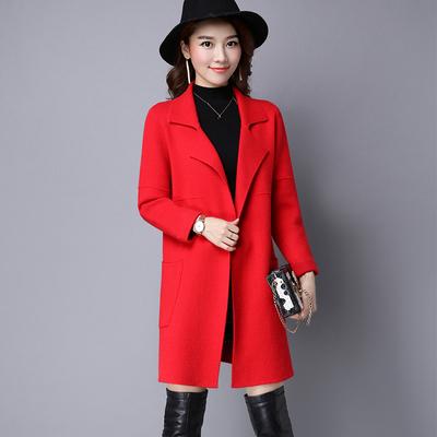 大红色外套女中长款秋冬装新款针织开衫大衣宽松春秋外搭毛衣外套
