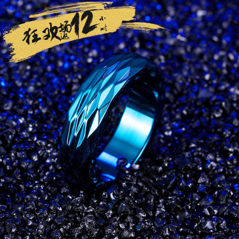 亚马逊 韩版菱形切割闪光面个性钛钢戒指 潮男食指指环