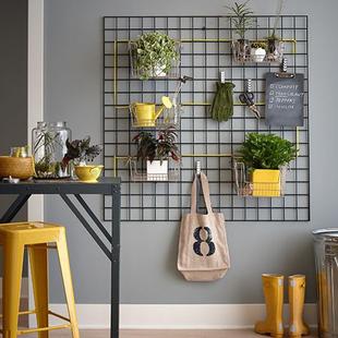 北欧风网格照片墙上置物架铁艺收纳架工具挂架定制创意架相片架子