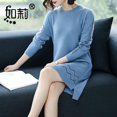 2018秋冬季新款韩版针织打底衫女套头中长款宽松长袖半圆领毛衣女
