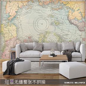 复古北欧风格世界地图壁纸电视沙发背景卧室客厅无缝儿童房间墙纸