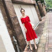 一字肩吊带大红色连衣裙女夏2018新款夏季露肩雪纺性感裙子中长款