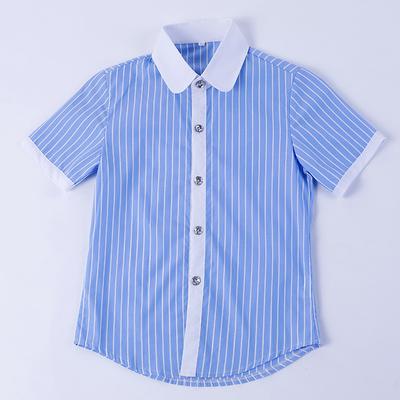 童装2018宝宝春秋新款纯棉男童衬衫短袖儿童白色衬衣夏季夏装上衣
