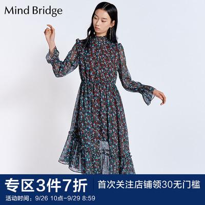 Mind Bridge百家好女士连衣裙潮流时尚印花女式裙子MROP621B