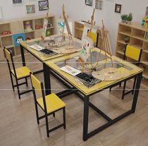 尊贵蓝中学生孔雀蓝安全可调节经济型书桌休闲绿色自由组装课桌椅