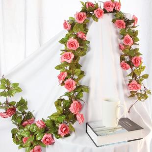 72朵婚庆仿真花藤装饰玫瑰绢花藤蔓壁挂拱门假花藤条管道吊顶包邮