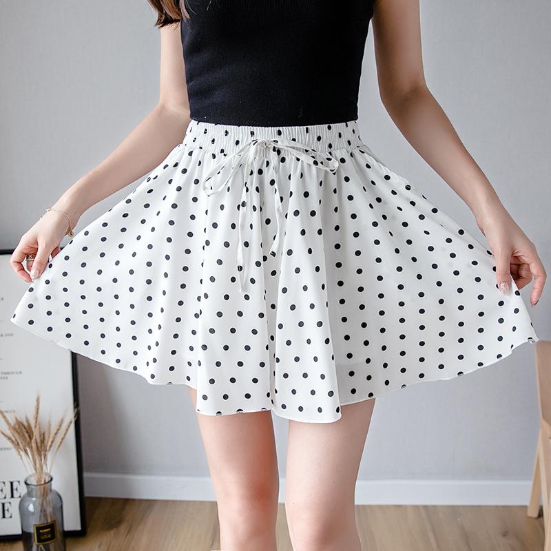 新品减10 夏波点阔腿裤短裤子A字半身裙子居家休闲裤有口袋潮