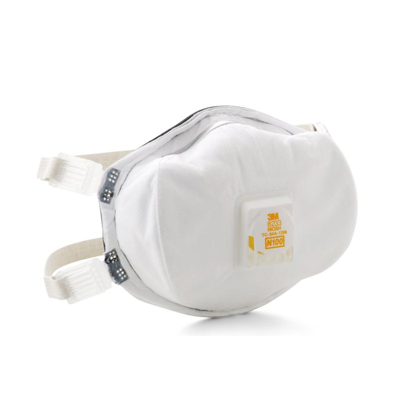 3M 8233 N100罩杯式防非油性颗粒物防尘头戴式口罩 带冷流呼气阀