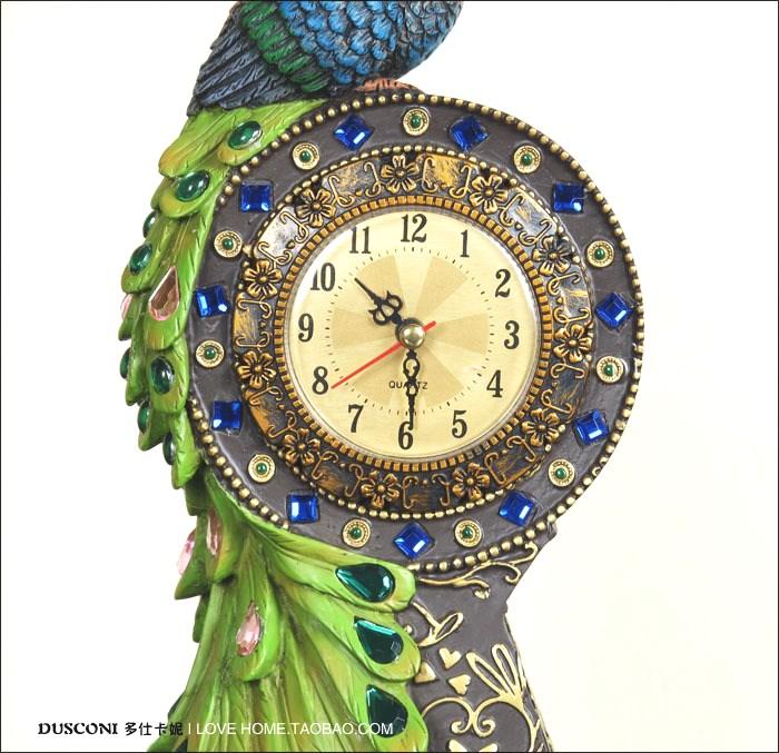 孔雀钟表欧式创意台钟仿古座钟时尚钟饰彩绘工艺品摆件包邮