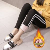 Pregnant women pants winter clothes plus velvet thickening high waist stomach lift pants outside wearing feet pants Slim thin pregnant women leggings tide