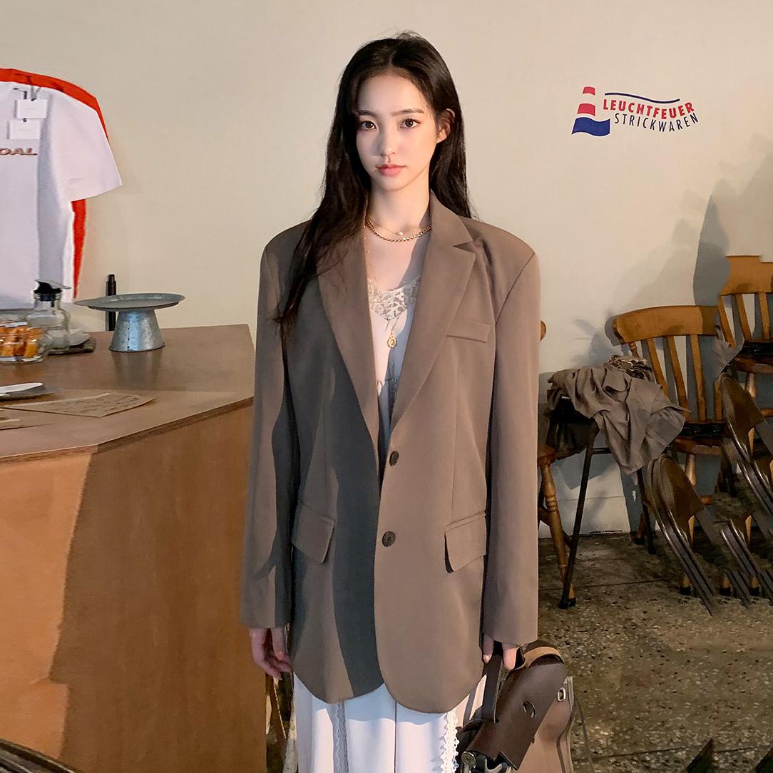 韩国官网代购chuu经典时尚双扣复古垫肩百搭夹克西装短外套