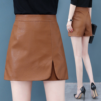 皮裙裤女2019秋冬季新款韩版高腰显瘦短款pu皮短裤外穿a字裤靴裤