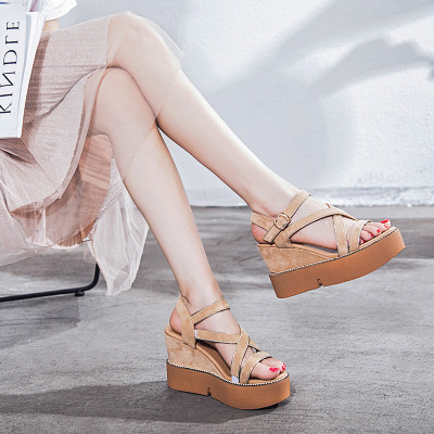 鱼嘴坡跟凉鞋女2018新款韩版夏季百搭厚底内增高女鞋性感超高跟鞋